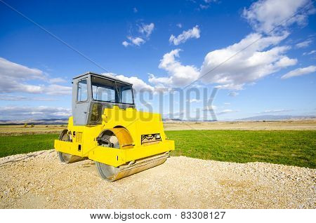 roller compactor on road construction