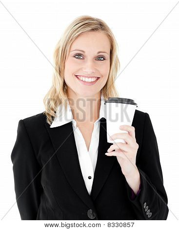 Joyful Businesswoman Holding A Coffee Smiling At The Camera