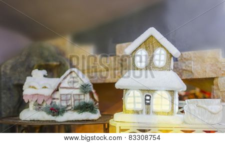Decorated small houses for Christmas