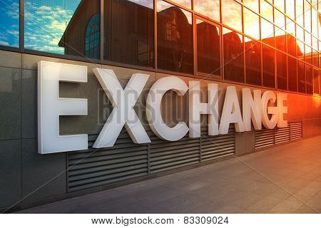 LONDON, UK - NOVEMBER 29, 2014: Exchange sign on the office building in canary Wharf, business and b