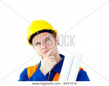 Thoughtful Architect Holding Blueprints