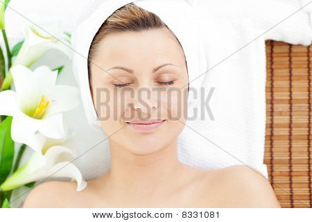 Resting Woman Lying On A Massage Table