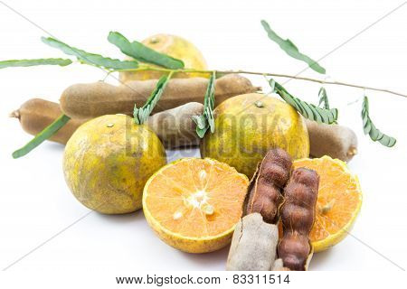 Orange And Tamarind With Leaf