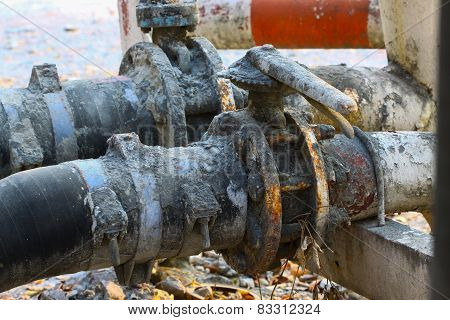 Old valve or dirty valve in dirty work, Dirty valve in oil transfer station.