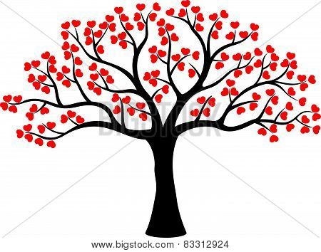 Stylized love tree cartoon made of hearts