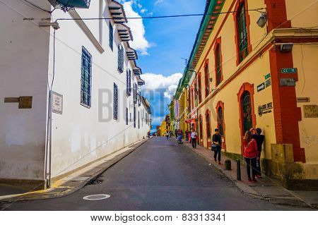 La Candelaria, colonial neighborhood that is a cultural and historical landmark in Bogota, Colombia