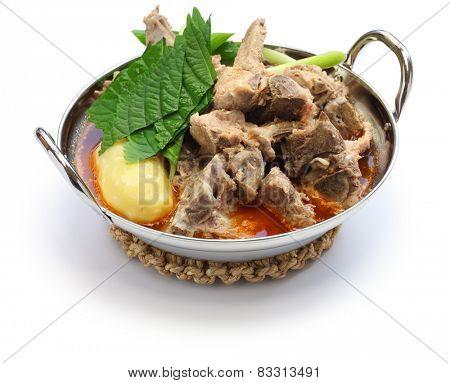 gamjatang, pork bone and potato soup, korean cuisine isolated on white background