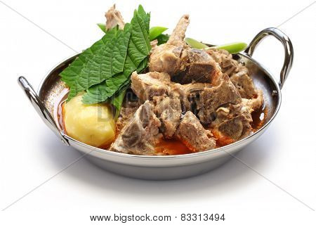 gamjatang, pork bone and potato soup, korean cuisine isolated on white background