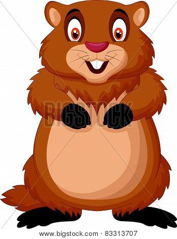 Cartoon happy groundhog