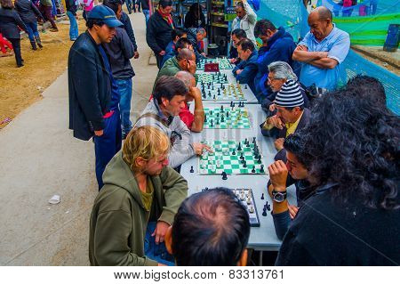 People playing chess in the streets of Bogota Colombia