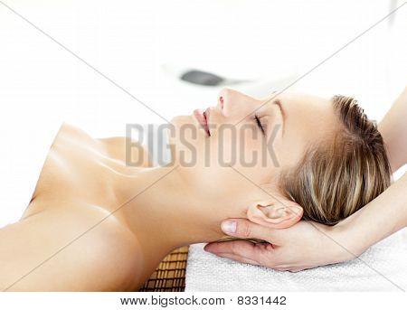 Beautiful Young Woman  Having A Massage