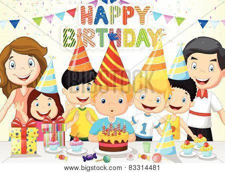 Happy boy cartoon blowing birthday candles with his family and friends