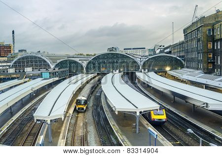 Trains arriving in Paddington Station, London, UK