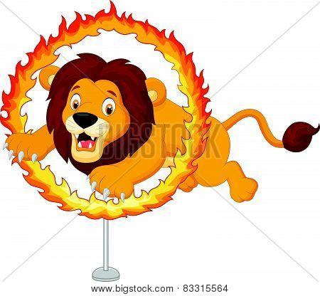 Cartoon lion jumps through ring of fire