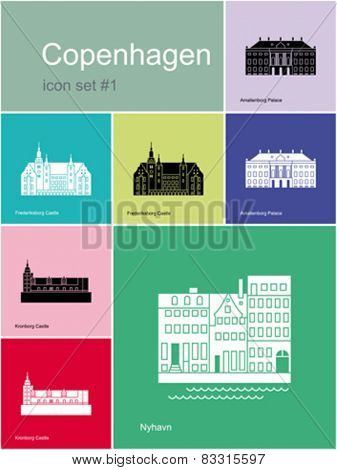 Landmarks of Copenhagen. Set of color icons in Metro style. Editable vector illustration.