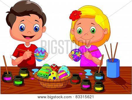 Little kids cartoon painting Easter egg
