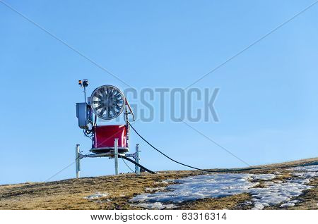 Snow cannon in the mountain ski resort