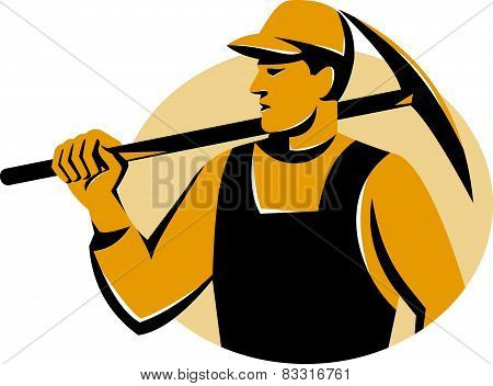 Miner Worker With Pickaxe Retro