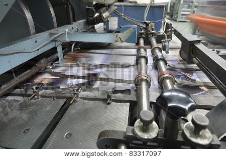Book magazine catalog production line into press plant house