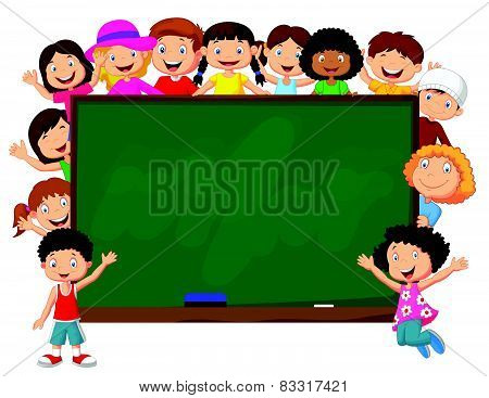 Crowd children cartoon with chalkboard