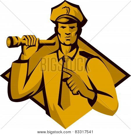 Policeman Police Officer Flashlight Retro