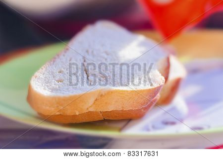 Pieces Of White Bread In Sunlight