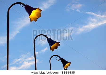 Old fashioned lamp posts