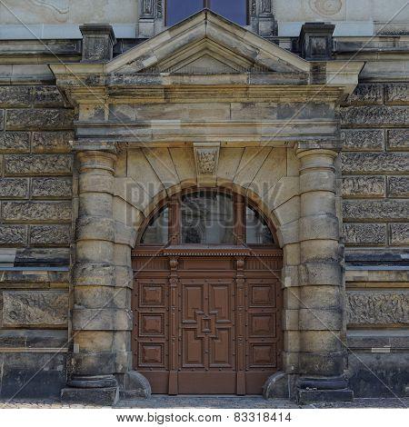 vintage wooden door Dresden Saxony Germany