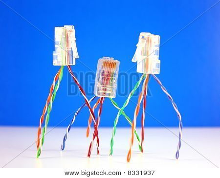 Three Connectors Rj45 For Network. Shallow Dof.