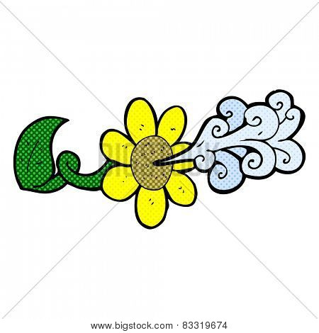 retro comic book style cartoon flower squirting water