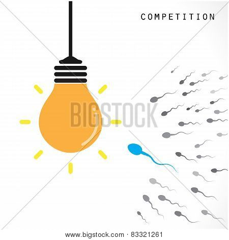 Creative Light Bulb Idea Concept Banner Background. Competition And Business Concept .