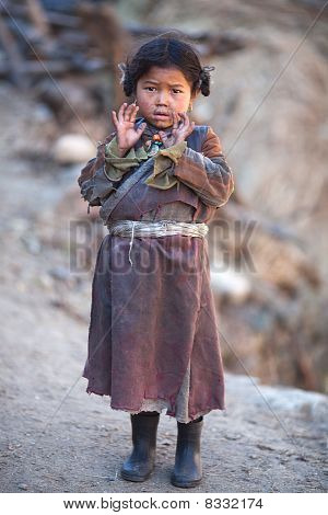 Portrait Of Little Tibetan Girl