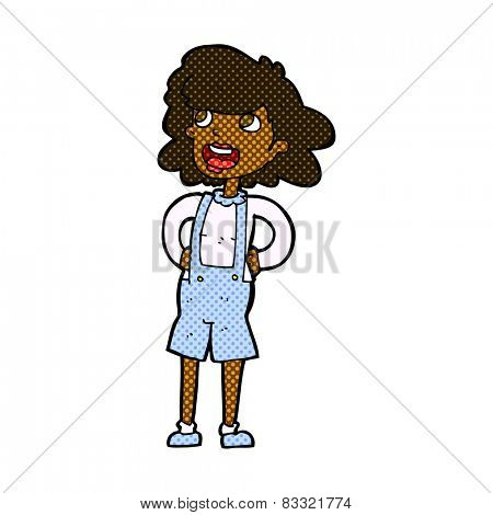 retro comic book style cartoon woman in dungarees