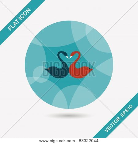 Valentine's Day Lover Swan Flat Icon With Long Shadow,eps10