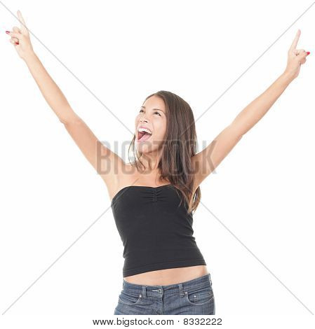 Cheerful Elated Woman On White Background