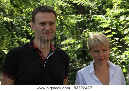 Policy Alexei Navalny and Evgeniya Chirikova at the meeting of activists in Khimki forest