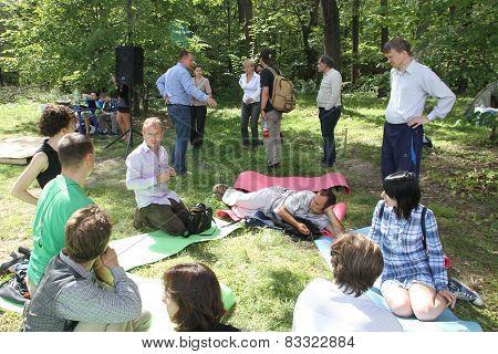 Civil society activists in Khimki forest