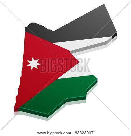 detailed illustration of a map of Jordan with flag, eps10 vector