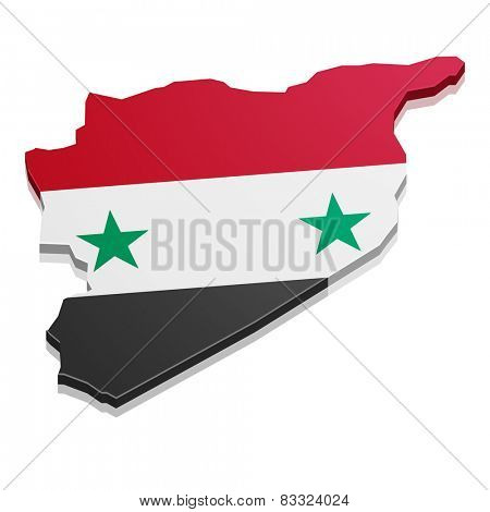detailed illustration of a map of Syria with flag, eps10 vector