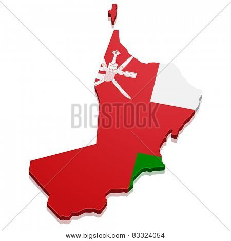 detailed illustration of a map of Oman with flag, eps10 vector