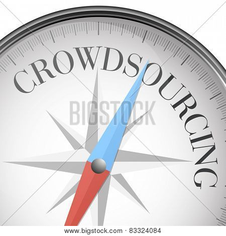 detailed illustration of a compass with crowdsourcing text, eps10 vector