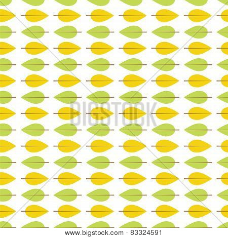 Seamless Pattern With Green And Yellow Leaves On A White Background