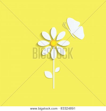 Flower And Butterfly From A White Paper On Yellow Background