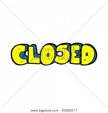 retro comic book style cartoon closed symbol