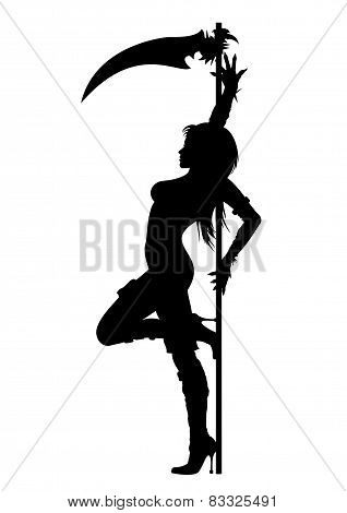 Striptease Silhouette Of Grim Reaper Girl