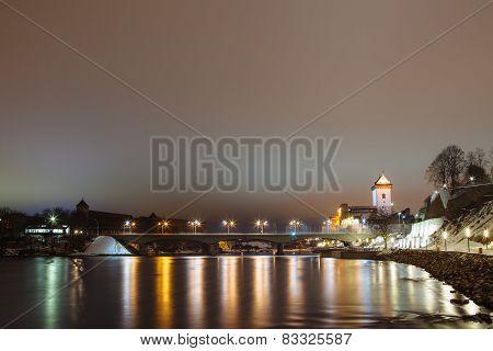 Night fortress German illuminates at night, Narva, Estonia