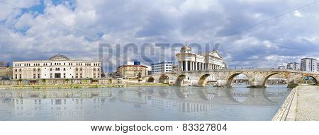 beautiful old stone bridge and river Vardar, Macedonia