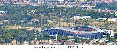 Aerial view of a soccer field, Skopje Macedonia