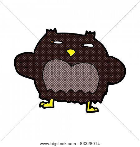 retro comic book style cartoon suspicious owl