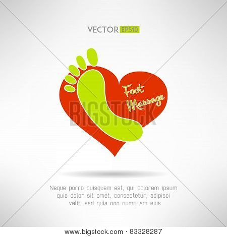 Feet massage sign and foot logo on top of a red heart. Health concept. Vector illustration
